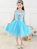 5PCS/1lot Elsa Frozen Dress Elsa Dress For Girl new 2014 Princess Dresses baby & kids summer Girl Dress Children girls' Clothing