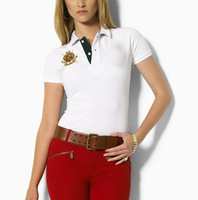 2014  gold embroidery  women t-shirts classic femal short sleeve lapel shirts brand new tops