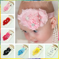 Sunshine store #8N0003 10pcs/lot (6colors) Newborn Chiffon Flower Baby Headband Elastic Girls Kids Headwear Children Accessories