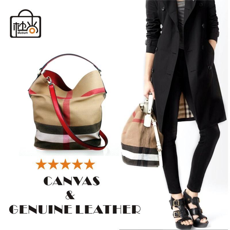 DUSUN Brand 100% Real Leather & Canvas Bag Plaid casual hobo bag for Women genuine leather handbag Totes Shoulder messenger bag(China (Mainland))