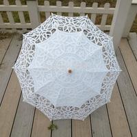"30"" White full lace Fashional Embroidered Lace Parasol Sun Umbrella Wedding Bridal Bridesmaid Party Decoration Free Shipping"