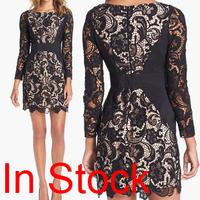 2014 new sexy bodycon bandage dresses elegant party evening girl dresses Baroque  Vintage Floral Crochet  Lace Bandage Dress
