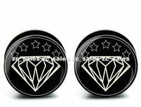Wholesale 60pcs gem stars ear plug acrylic screw fit ear plug flesh tunnel body piercing mix size 6mm-25mm A0191