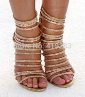 Plus Size 11 Stylish Designer Cutout Straps Gold Crystal High Heels Sandals Fashion Gladiator Sandals Boots Women