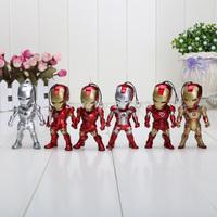 6pcs/set 9cm Super Heros Mini Egg Attack Iron Man 3 MK2-6 MK42 PVC Action Figure Collection Toy