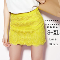 2014 new womens saias femininas longa mini skirts Lace Hollow skater pencil skirt short yellow for summer tulle  free shipping