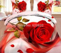 3D Red Rose  Wedding Bedding Set 90% Cotton Bedcover Bed Sheet Duvet Cover Pillowcase Quilt Comforter Bedclothes Home Textile