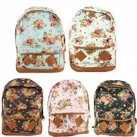 New Women Fashion Vintage Cute Flower School Book Campus Lovely Backpack