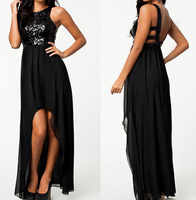 2014 New Fashion Black Asymmetrical Black Sequined Maxi Dress Summer Long Chiffon Dress  9099