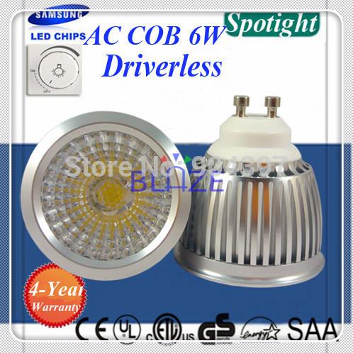 2015 New Driverless SAMSUNG AC COB Dimmable GU10 6W LED Spotlight Bulbo cob gu10 led lampe 100pcs/Lot(China (Mainland))