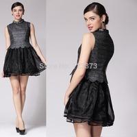 2014 spring Brand desige fashion black dresses diamond patchwork ruffle organza sleeveless one-piece dress princess dress female