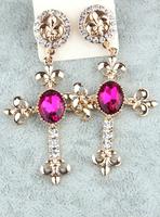 Free Shopping Fashion Long Cross Pendant earrings earrings jewelry earrings women 2014