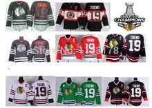 Chicago Blackhawks Ice Hockey Jerseys #19 Jonathan Toews Jersey  white green black red new third style  jersey Free shipping!(China (Mainland))
