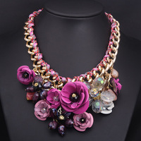 2014 Spring New Design Gold Chain Spray Paint Metal Flower Resin Beads Rhinestones Crystal Bib Statement Necklace Luxury Jewelry