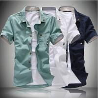 2014new men's short sleeve shirt small mushroom men short sleeve shirt men's fashion boutique wholesale M-XXXL