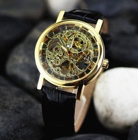 hot sale  winner brand  skeleton hollow fashion hand wind mens black leather strap Mechanical Wrist Watch silve gold