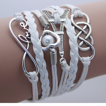 2014  jewelry leather Double infinite multilayer bracelet factory price ...