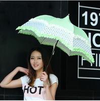 Princess Lace Umbrella Folding Fashion Sun Protection Super Sunny and Rainy Umbrella  Free shipping
