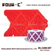 Damask cake decoration silicone onlay,border lace,silicon lace mold