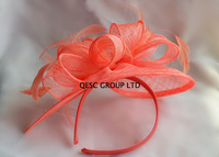 Coral pink Feather sinamay fascinator hat for wedding races party.