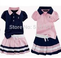 summer  Brand design fashion baby girl Casual Suitchild Sportswear Clothing girl t shirt+skirt  2 pcs set Children's clothes