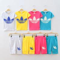Summer child little boys girls child short-sleeve set 100% baby cotton set