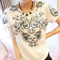2014 autumn vintage shirt women symmetrical blue and white porcelain print totem chiffon shirt fashion women blouses 6290