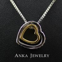 18K Gold +White Gold Double Heart Rhinestone Pendant Necklace