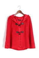1031 Fashion European Stylish Horn Button Warn Woolen Fur Coat Cape Jacket