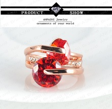 Romantic Engagement Ring 18K Gold Plate Love Rings For Women With Austrian Crystal SWA Element Ri