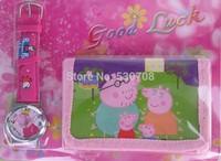 1pcs Peppa pig Watch Kids Fashion Quartz Cartoon Watch and Wallet Candy Cute Lovely Girl Woman Lady Children Watch
