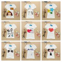 Free Shipping New 20 Printing Style Women Clothing Summer Fashion White Cotton Short Sleeve Women T-Shirt Girl Blouses #6045