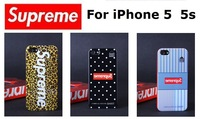 2014 Hot Selling Supreme Phone Back Cover Plastic Hard Case For Apple iPhone 5 5s Black Dot Stripe Leopard Free Shipping