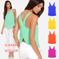 New 2014 summer blouse women's candy color chiffon shirt big size xxxxxl tops sexy backless strap chiffon blouse shirt T279