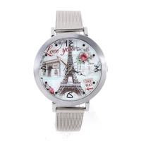 Wristwatch the Arc de Triomphe Women Dress Watches Rose Flower Fashion Casual Watch Analog Tower Steel Case Quartz