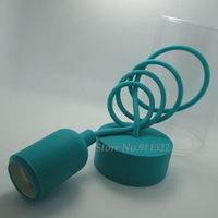 e26 e27 silicone lamp base Blue-green color pendant lights lampholder/110V 220V,cable length 1 meter,Free Shipping