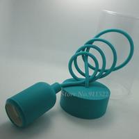 e26 e27 silicone lamp base Blue-green color pendant lights lampholder/110V 220V,cable length 1 meter,Free Shipping
