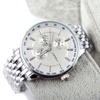 Clock Men SINOBI Brand Men Sports Watches Clock Men Full Steel Watch Quartz Analog Watches Men Clock WristWatch Reloj