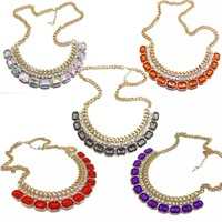 Min.order is $9.9 X160 accessories fashion trend fashion gem inlaying necklace