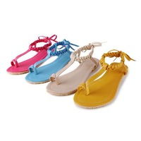 Summer plus size women's flat heel shoes fashion personality banding bandage gold shoes flatbottomed toe-covering lacing high