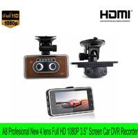 Free shipping 2014 new professional A8 Full HD 1080P Car DVR video Recorder 3.5'' screen 4 lens car Camera built-in G-sensor