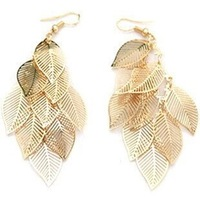 fashion Bohemia gold plated multilayer leaves drop earrings for womnen