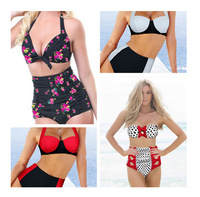 Fashion Women's Swimwear 2014 Summer High Waist Bikini Set Sexy Lady's Swimsuit Beach Wear DROP SHIP