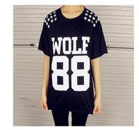Cheap Brand Women WOLF 88 Leters EXO Tshirt Printed Harajuku Girl Shirt Short Sleeve Tops Tee BTZ053-14