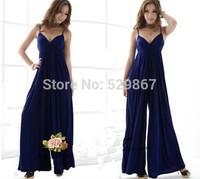 New fashion summer 2014 women beach dress selling super sexy  dress The v-neck condole belt dress wide-legged divided dress