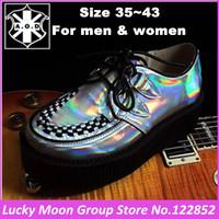 Fashion Silver Laser Hologram Men Women Lace Up Goth Punk High Platform Flat Creepers Shoes HARAJUKU Creeper Man Big size