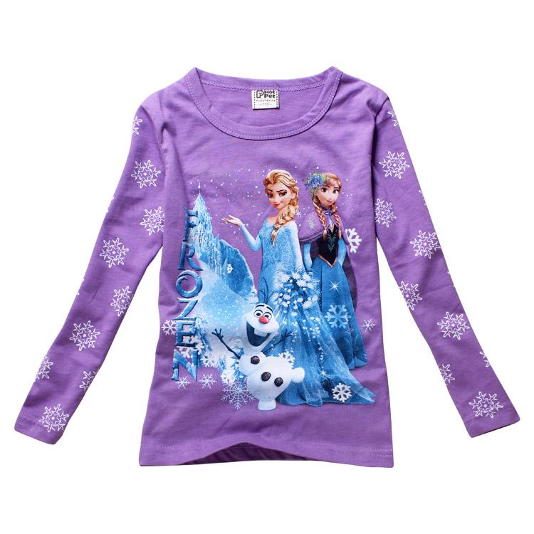 Girls T Shirt Children Boys T-Shirts Kids Baby 2014 Brand Cartoon Frozen Princess Tops Tees Spring Autumn Long Sleeve Clothing(China (Mainland))