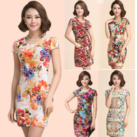 High Quality new summer dress 2014 fashion Party Bodycon bandage vestido vintage women print dresses women's Floral casual dress