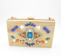 vintage personality wood day clutches, fashion prom clutch, desginer casual banquet clutch handbag cool messenger bag