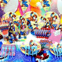 Cartoon birthday party set,event decorations set,hello kitty/spide-man/winnin the pooh/princess/smiling face/mickeyFree shipping